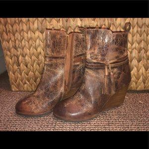 Never been worn! DibaTrue brown booties w/ fringe.
